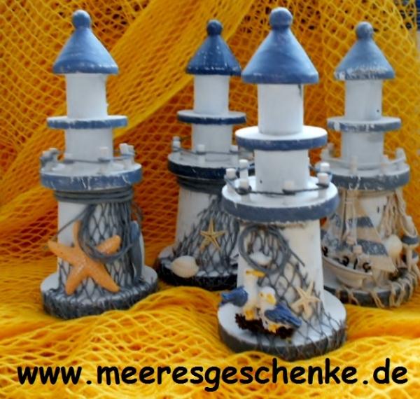 Deko-Leuchtturm ca. 19 cm blau / weiss