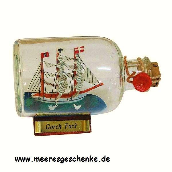 Flaschenschiff / Buddelschiff Gorch Fock ca. 9 x 6 cm
