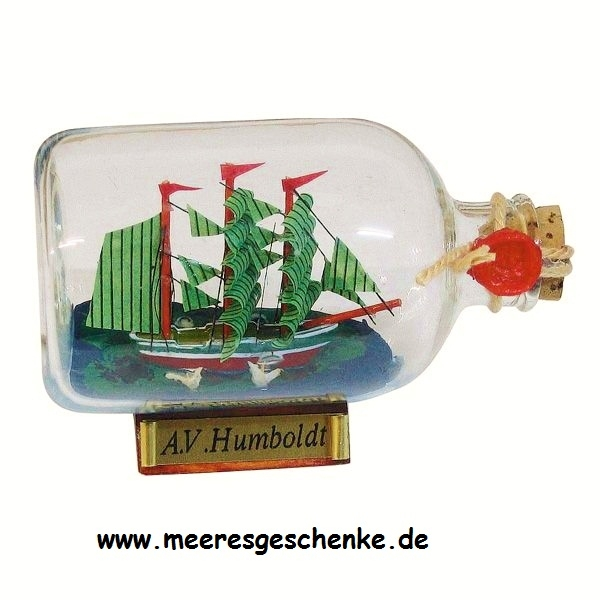 Flaschenschiff / Buddelschiff A.v. Humboldt ca. 9 x 6 cm