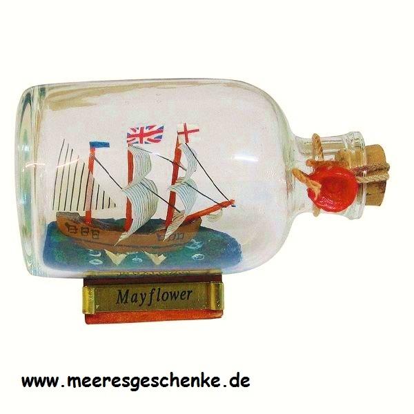 Flaschenschiff / Buddelschiff Mayflower ca. 9 x 6 cm