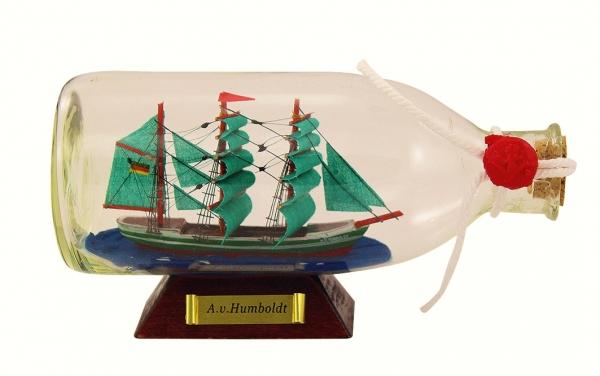 Flaschenschiff / Buddelschiff A.v.Humboldt ca. 16 x 8 cm