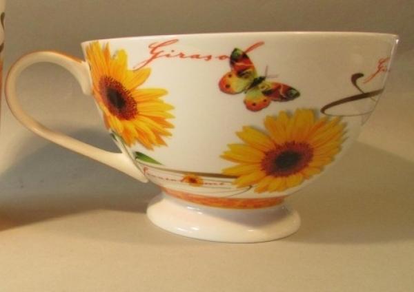 Diamantporzellan Jameson & Tailor Milchkaffeetasse Sonnenblume