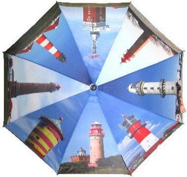 Regenschirm mit Leuchttürme als Motiv