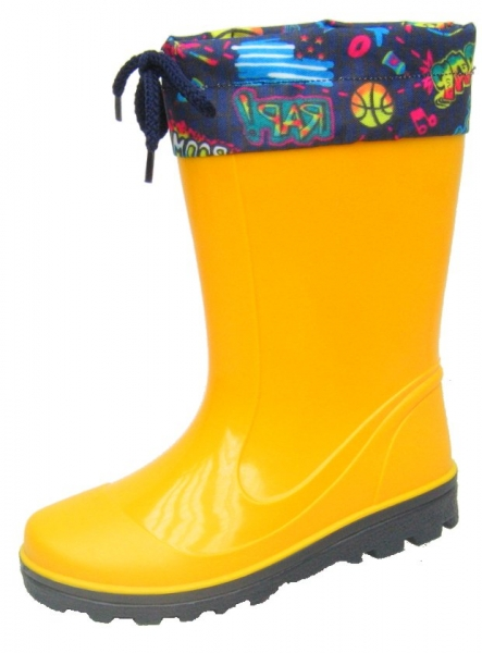 Kinder PVC-Stiefel Laura gelb mit dunkelblauer Sohle 25