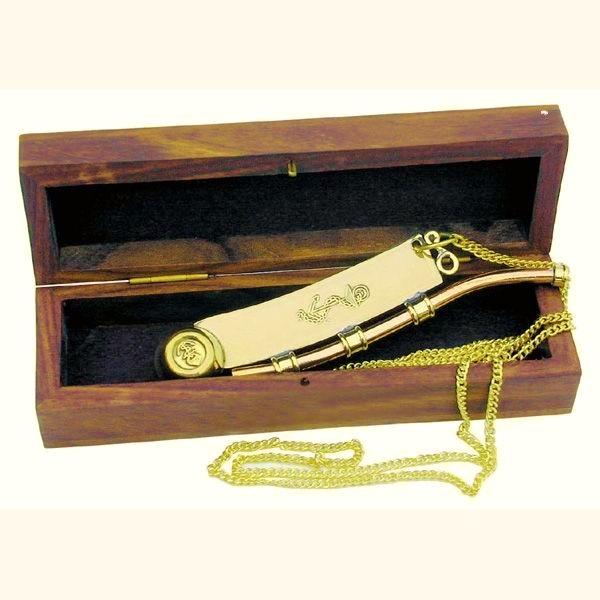 Seemannspfeife mit Anker-Gravur und Holzbox