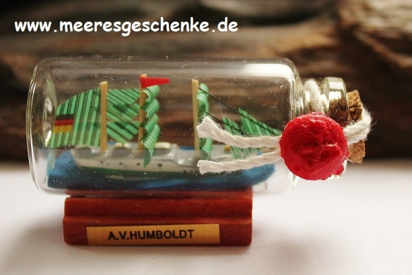 Buddelschiff / Flaschenschiff A.v. Humboldt ca. 6 x 3 cm