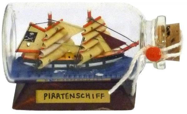 Buddelschiff / Flaschenschiff Piratenschiff ca. 6 x 3 cm