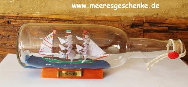 Flaschenschiff / Buddelschiff R. Rickmers ca. 29 x 9,5 cm