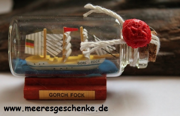 Buddelschiff / Flaschenschiff Gorch Fock ca. 6 x 3 cm