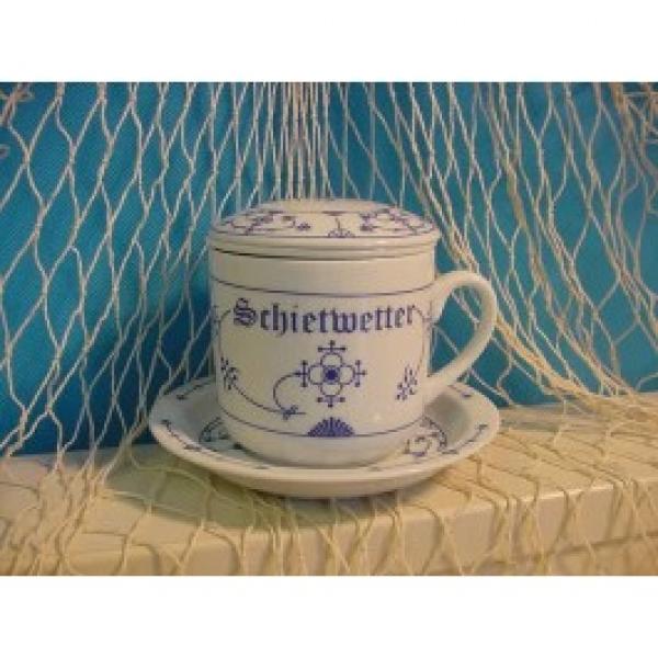 """Indisch Blau Kräuterteetasse """"Schietwetter"""" 4-teilig"""