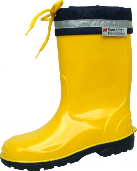Kinder PVC-Stiefel Kim gelb mit dunkelblauer Sohle 25