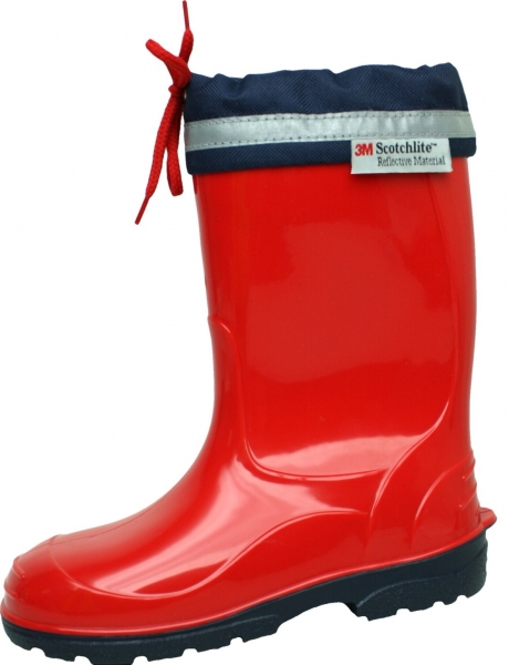 Kinder PVC-Stiefel Kim rot mit dunkelblauer Sohle 25