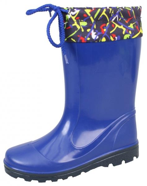 Kinder PVC-Stiefel Laura blau mit dunkelblauer Sohle 25