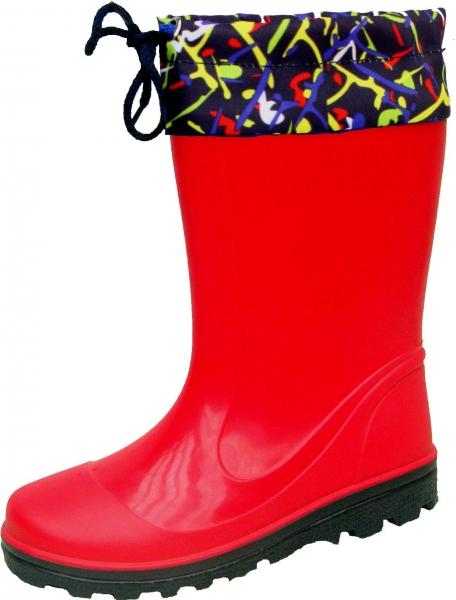 Kinder PVC-Stiefel Laura rot mit dunkelblauer Sohle 25