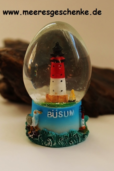 Schneekugel Leuchtturm Büsum eiförmig ca. 7 cm