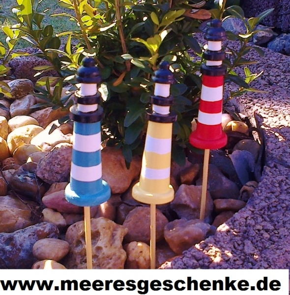 3 Deko-Leuchtturm-Stecker ca. 20 cm