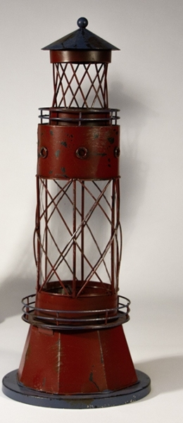 Metall-Leuchtturm als Glaswindlicht rot 44 x Ø: 17 cm