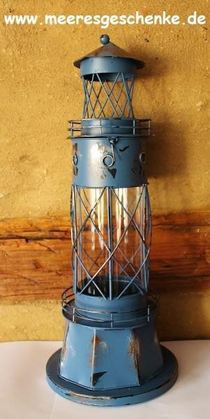 Metall-Leuchtturm als Glaswindlicht blau 44 x Ø: 17 cm