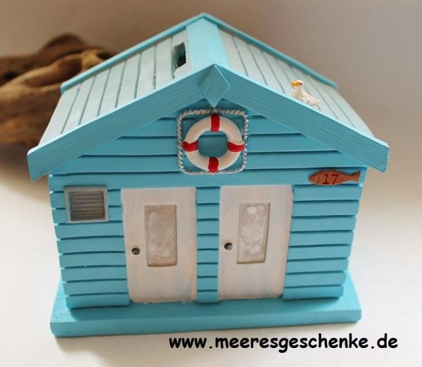 Spardose maritim als Strandhaus ca. 15 x 9 x 13 cm