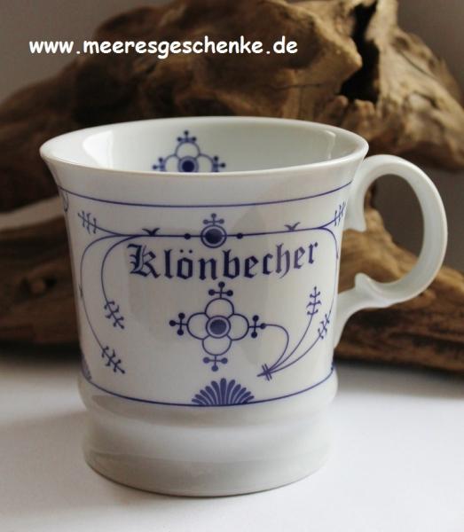 Indisch Blau Herrenbecher / Kapitänsbecher Klönbecher