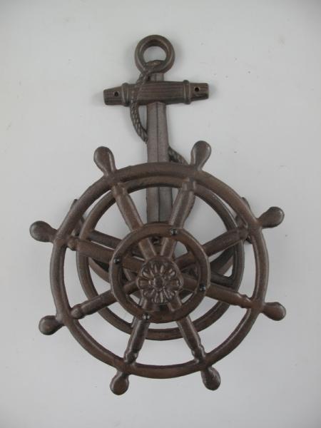 Nostalgischer maritimer Schlauchhalter ca. 50 x 30 x 17 cm braun