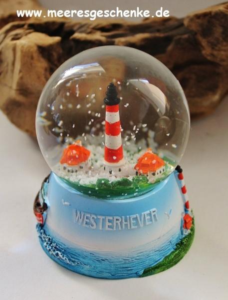 Schneekugel Leuchtturm Westerhever ca. Ø 6,5 cm x 9 cm