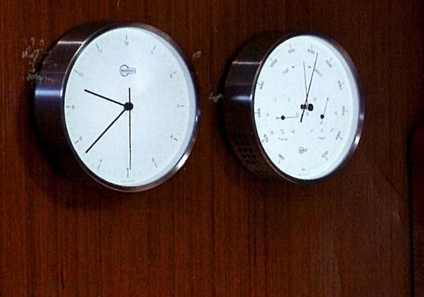 BARIGO STEEL Quarz-Uhr und Wetterstation mit Leuchtskala