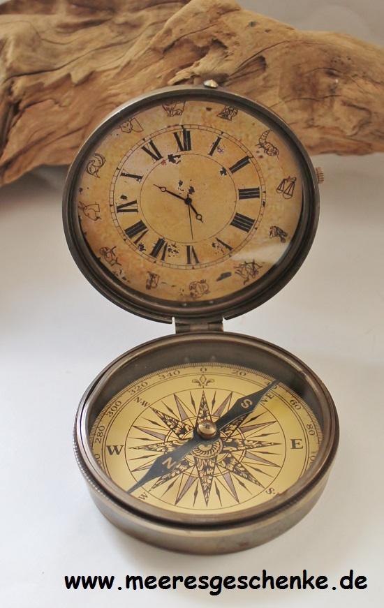 kompass mit uhr 8 5 x 10 cm maritime deko online bei. Black Bedroom Furniture Sets. Home Design Ideas