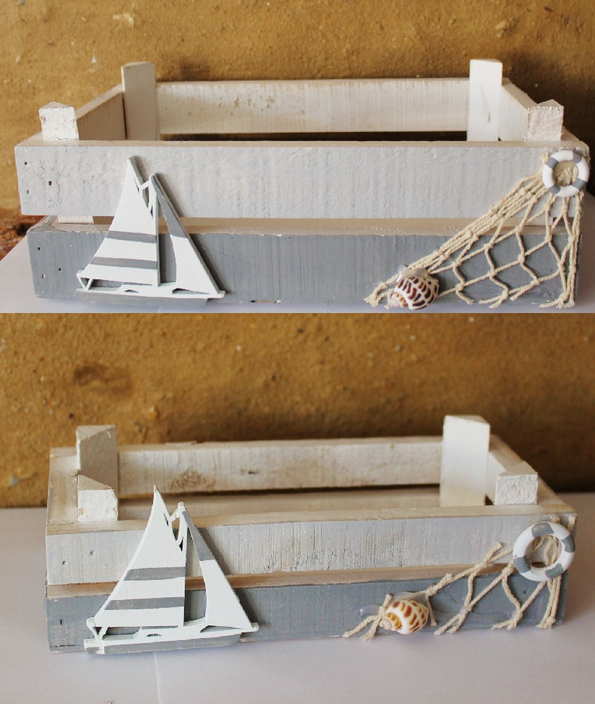 2 deko kisten grau wei maritime deko online bei. Black Bedroom Furniture Sets. Home Design Ideas