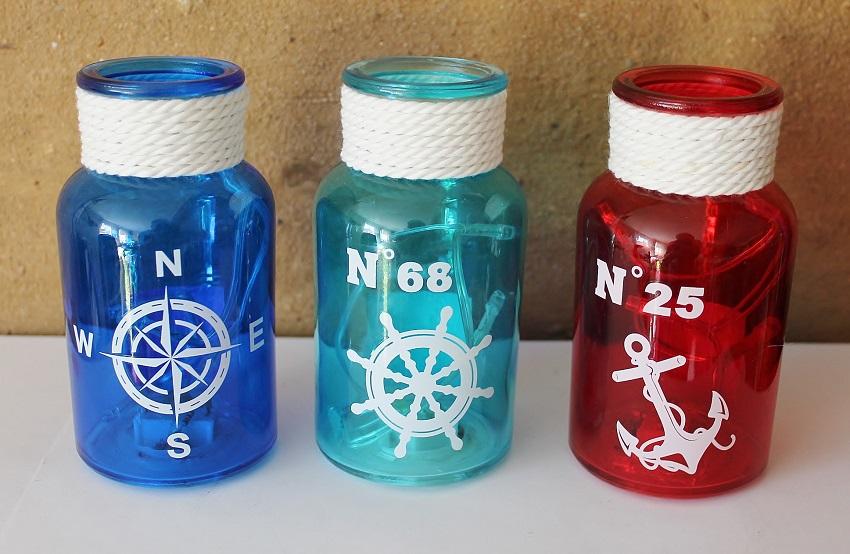 3 Flaschen Mit Led Licht Ca O 7 X 13 Cm Maritime Deko Online Bei