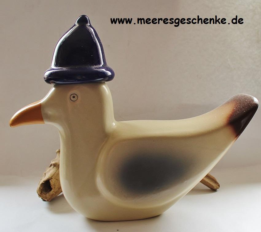 Gartendeko Deko-Möwe mit Pudelmütze aus Steinzeug 17 x 14 x 4 cm wetterfest