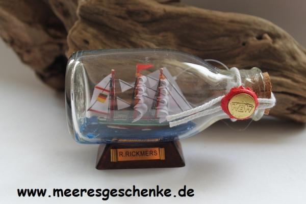 Flaschenschiff / Buddelschiff R. Rickmers ca. 12 x 7 cm