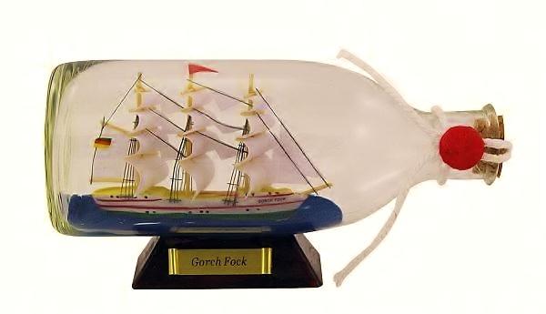 Flaschenschiff / Buddelschiff R.Rickmers ca. 16 x 8 cm