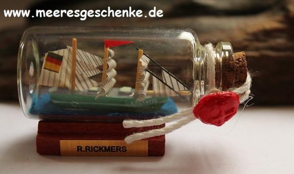 Buddelschiff / Flaschenschiff R. Rickmers ca. 6 x 3 cm