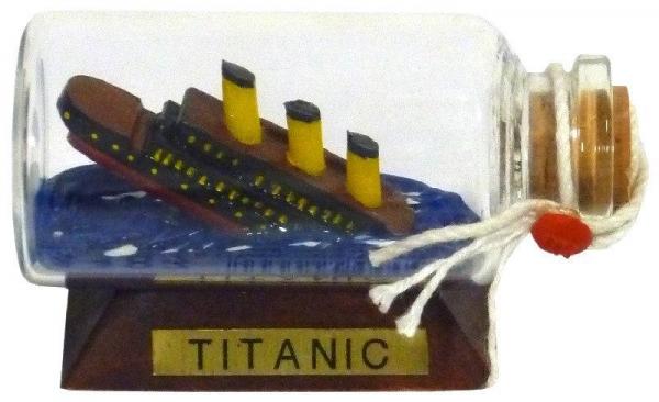 Buddelschiff / Flaschenschiff Titanic ca. 6 x 3 cm