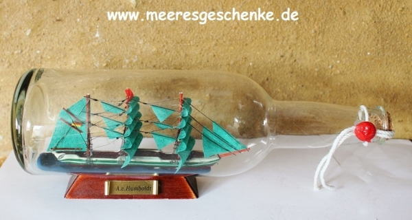 Flaschenschiff / Buddelschiff A.v.Humboldt ca. 29 x 9,5 cm
