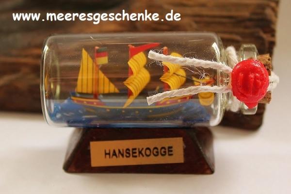 Flaschenschiff / Buddelschiff Hanse Kogge ca.6 x 3 cm