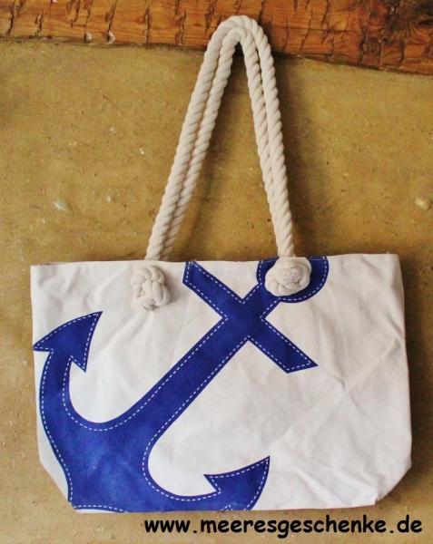 Shoppingtasche Anker maritim robust beige-blau Freizeit